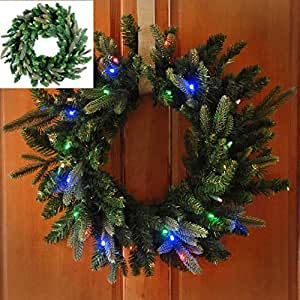 lighted christmas wreath 26 battery operated. Black Bedroom Furniture Sets. Home Design Ideas