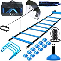 MLCINI Agility Ladder 1 Agility Training Equipment 1 Resistance Parachute 4 Adjustable Hurdles 12 Disc Cones 1 Jump Rope…