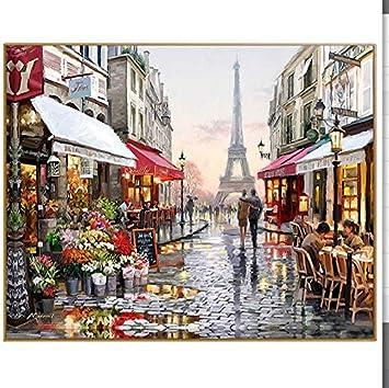 Shi18sprot Pintura Al Óleo por Números Bricolaje Cuadro De Dibujo para Colorear Lienzo Pintura Digital Mano Decoración De La Pared Paisaje París Flor Calle ...