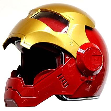 Rojo Oro Motocicleta Iron-Man Hero Casco Cool Modular hasta FIP Casco Casco de Seguridad