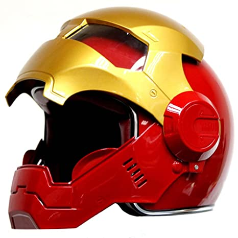 Rojo Oro Motocicleta Iron-Man Hero Casco Cool Modular hasta