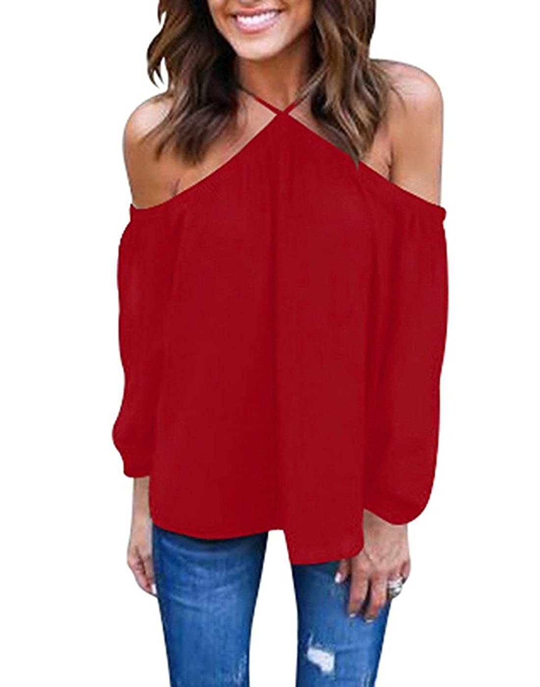 1d5df28048074e Vemvan Women s Spaghetti Halter Off The Shoulder Blouse Long Sleeve Shirt  Tops at Amazon Women s Clothing store