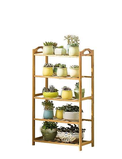 Zloader Bamboo Display Organizer Shelf Rack Plant Flower Pot Holder Stand Storage Rack Shelving Unit