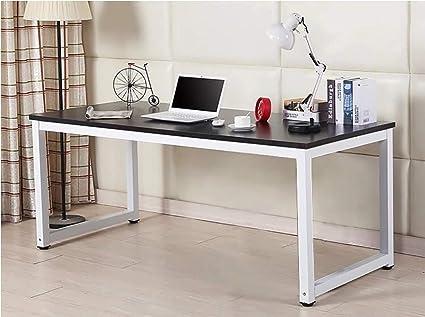 Home Office Desk 63in Writing Desks Large Study Computer Table Workstation Black Wooden Top White Metal Leg