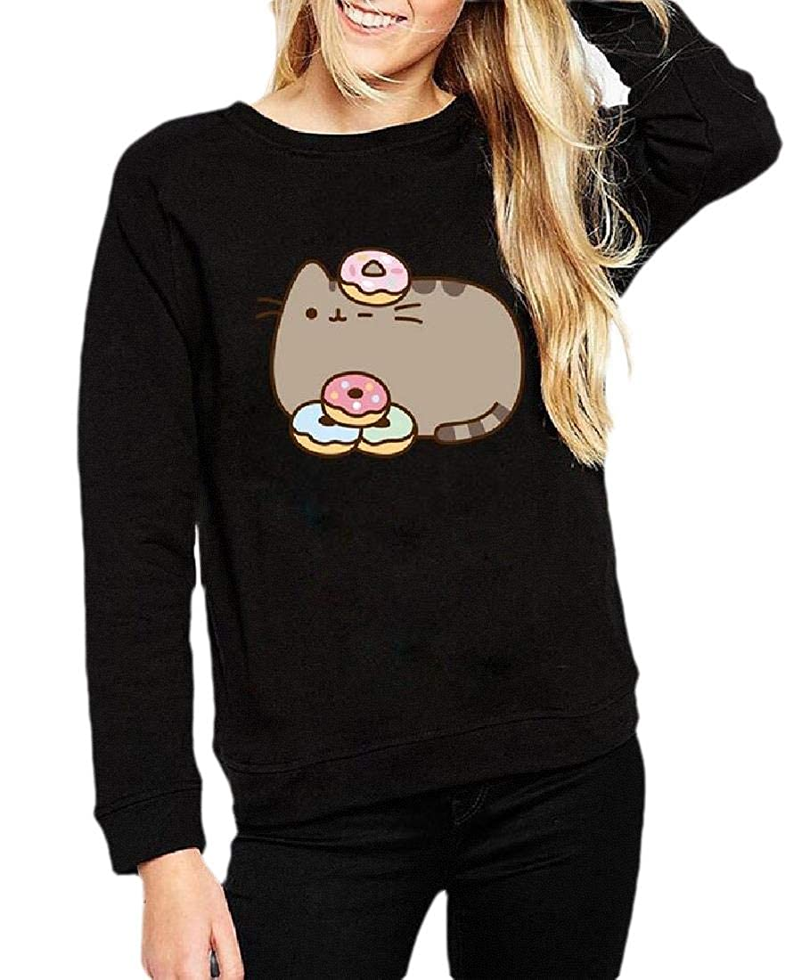 Joe Wenko Women Cute Sweatshirt Pattern Print Pullover Hip Hop Sweatshirts
