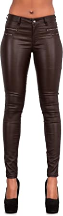 Womens Leather Look Trousers Wet Look Leggings Slim Fit Jeans Sizes 6 8 10 12 14
