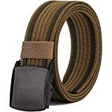 Nylon Belts for Men, Military Tactical Belt with YKK Plastic Buckle, Durable Breathable Canvas Belt for Work Outdoor Sports,Adjustable for Pants Size Below 46inches[53''Long1.5''Wide] (Brown)
