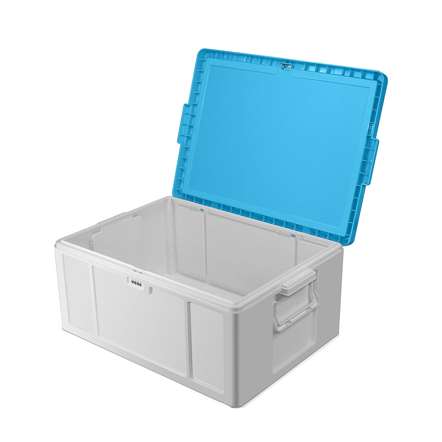 Storage Container Stackable Bins with Digit Lock ABS Safety Large Capacity 51L (cyan)
