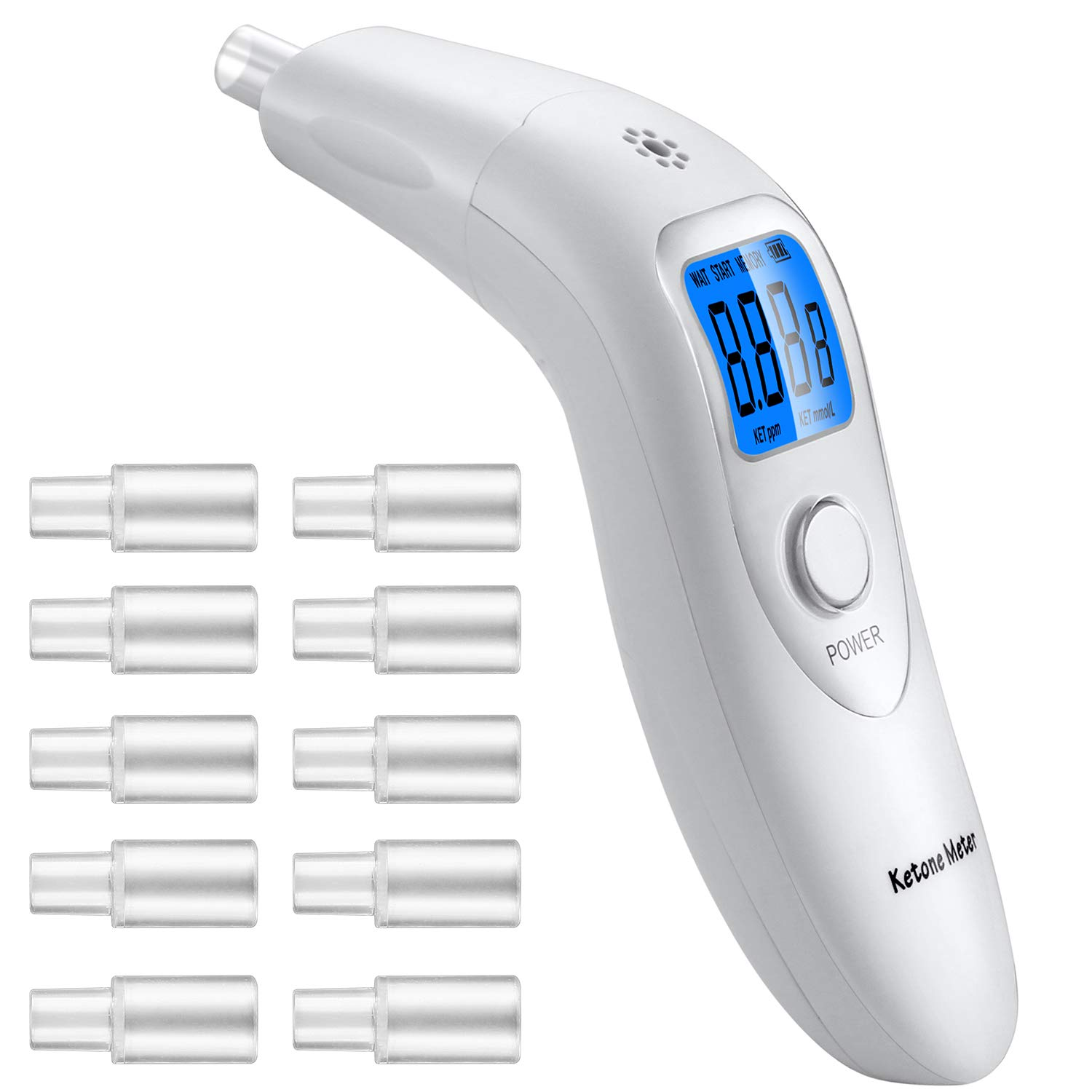 Anntoo Ketone Analyzer for Self-Ketosis Checking with 10pcs Replaceable Mouthpieces by Anntoo