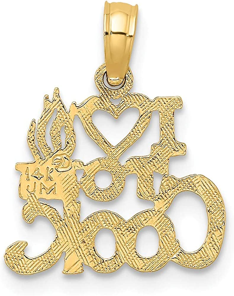 Solid 14k Yellow Gold I Heart to Cook Charm Pendant 11mm x 14mm