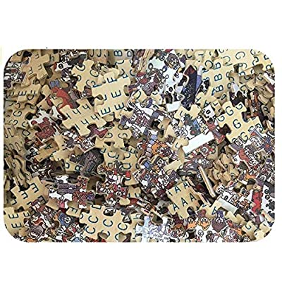 WDSDFEP Jigsaw Puzzles for Adults 1000 Piece Wooden DIY Difficult Puzzles for Adults Kids Antistress Classic Puzzle Games Educational Toy Birthday Gift Bookshelf and Dog Animal View in Study Room: Toys & Games