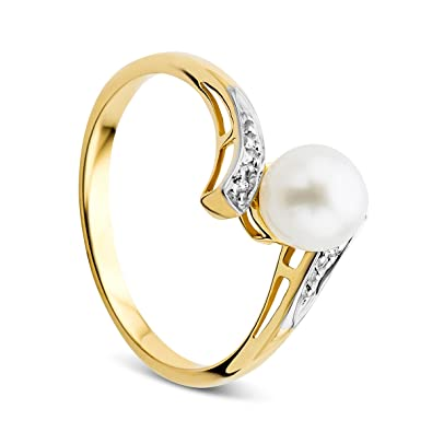 a67b4b002c061 Orovi Women's Freshwater Pearl Ring 9 ct/375 Yellow Gold With ...