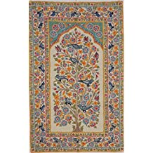 "NovaHaat Tree of Life Embroidered Rug - Ivory Color Kashmir Wool Thread Hand Embroidered Chain Stitch Wall Hanging Tapestry ~ 60"" x 36"" - Every inch of the Base Fabric Covered by Crewel Work"