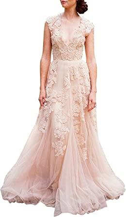 Women S Vintage Cap Sleeve Lace A Line Wedding Dresses Bridal Gowns At Amazon Women S Clothing Store
