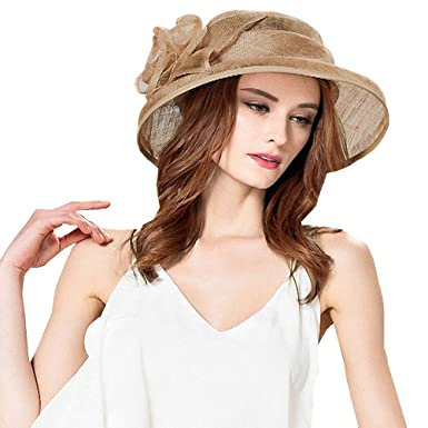 a0a9311ee33 Maitose Women s Cambric Flowers Church Bowler Hats Camel at Amazon ...