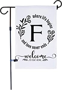 AKPOWER Small Garden Flag Vertical Double Sided 12 x 18 Inch Farmhouse Burlap Yard Outdoor Decor Classic Monogram Letter F