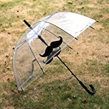 Mustache Fashion Umbrella Hyaline Black Pattern Long Handle Sun Rain Umbrella Castle