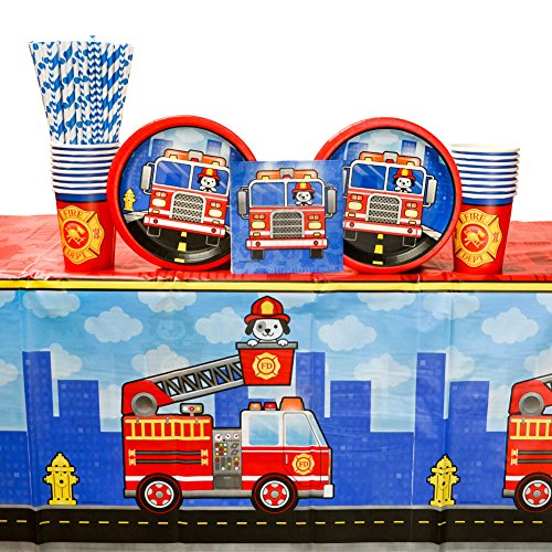 5-Alarm Flaming Fire Truck Party Supplies Pack for 16 Guests: Straws, Dessert Plates, Beverage Napkins, Table Cover, and Cups -