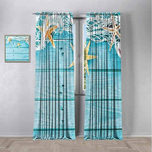 Starfish Decor Black out window curtain 2 panel,Rustic Wood Boards Fishing Net and Ocean Animals Nautical Print Curtains 84 inch length Privacy protection Turquoise White Orange W108 x L84 Inch