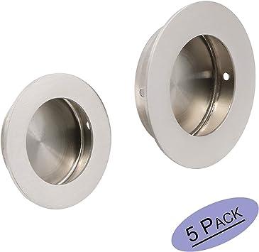 Embellecedor redondo para puerta corredera con tornillos ocultos, 50 mm x 65 mm, acero inoxidable satinado, de Goldenwarm: Amazon.es: Bricolaje y herramientas