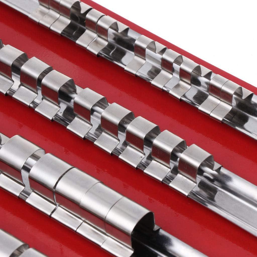 1//2Pouces Set de Rangement pour Outils Snap Rail ZJL220 Plateau /à Douilles 1//4 3//8 80Pieces