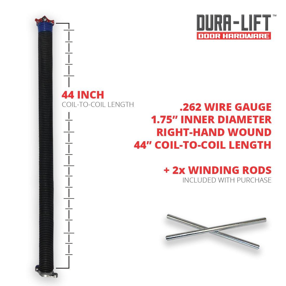 DURA-LIFT .262 x 2 x 38 Torsion Garage Springs Blue, Left /& Right Wound