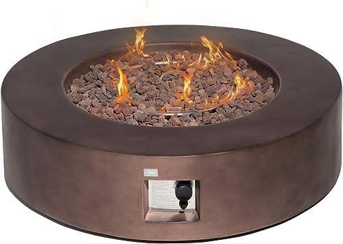 COSIEST Outdoor Propane Fire Pit Coffee Table w Dark Bronze 42-inch Round Base Patio Heater, 50,000 BTU Stainless Steel Burner, Free Lava Rocks, Waterproof Cover