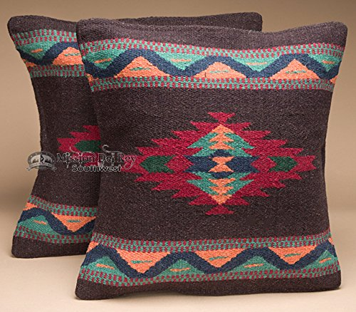Southwestern Wool Throw Pillow Covers 18x18 - (PAIR) 2 Hand Woven Western Pattern for Native American Style and Rustic Cabin Decor ()