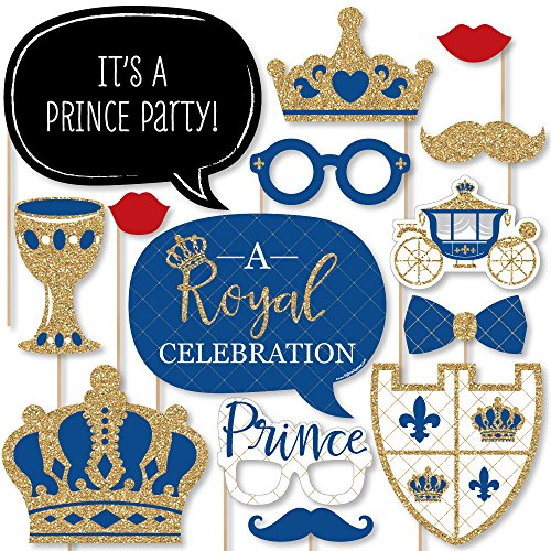 Royal Prince Charming - Baby Shower or Birthday Party Photo Booth Props Kit - 20 Count