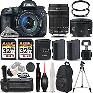 Canon EOS 7D Mark II Digital SLR Camera + Canon 18-135mm IS STM Lens + Canon 50mm 1.8 II Lens + Battery Grip + Backup Battery. All Original Accessories Included - International Version