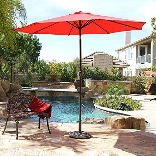 Innovative Design 9 ft Aluminum Outdoor Patio Garden Yard Umbrella (Red) Best Way to Stay Outside Without Absorbing the Harmful UV Rays