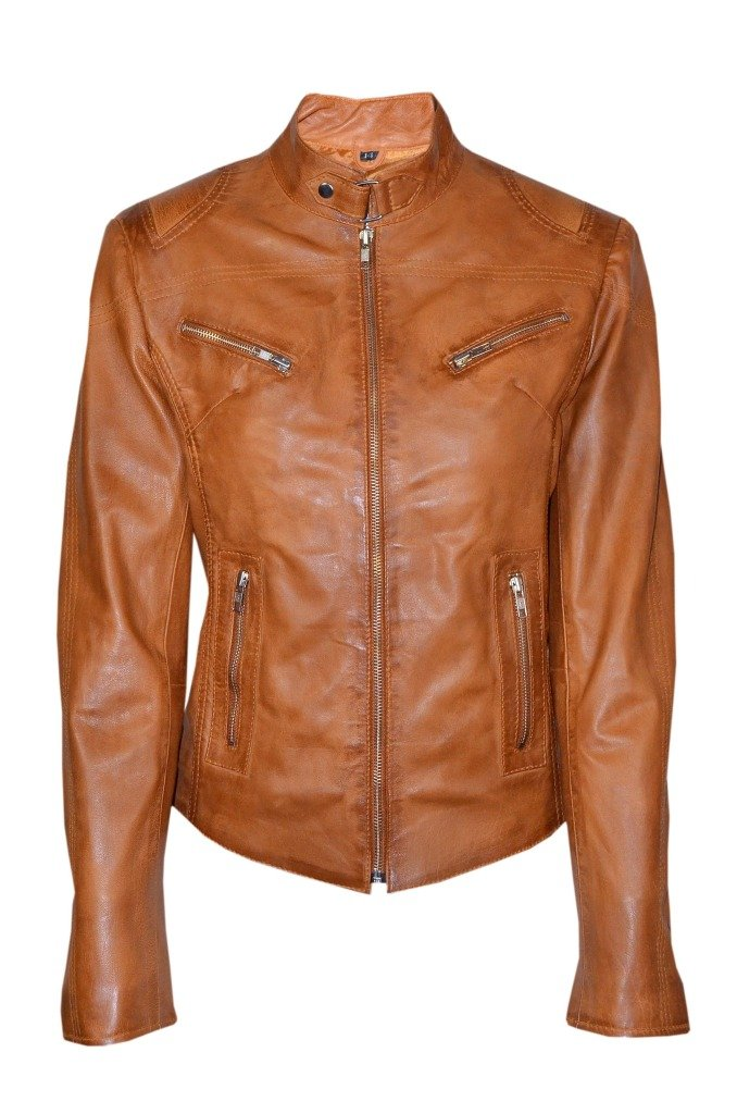 Smart Range Women's Speed Washed Cool Retro Biker Style Fitted Motorcycle Designer Leather Jacket 16 Tan