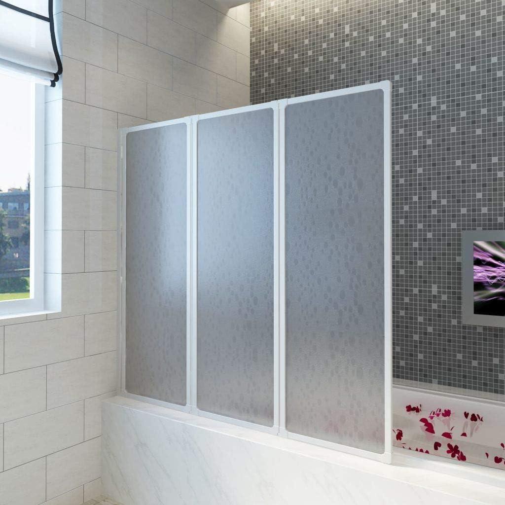 Mampara de Ducha, Pared de bañera Plegable, mampara de Ducha, mampara de Ducha, Paneles de 3 Puertas Plegables, de Aluminio, 141 x 132 cm
