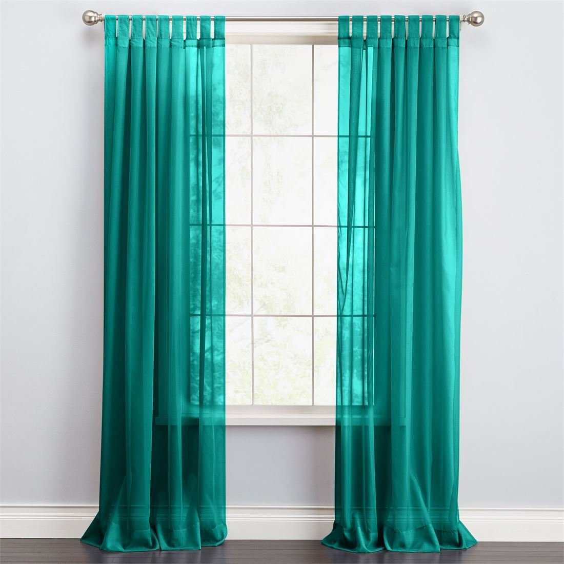 BrylaneHome Bh Studio Sheer Voile Tab-Top Panel (Aqua,60