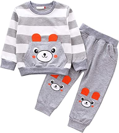 Kuner Toddler Boys 2 Piece Cotton Clothing Set Long Sleeve Sweatshirts and Pant Outfit