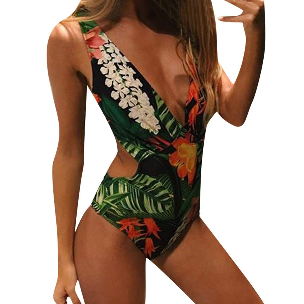 iLUGU Women Monokini Swimwear Leaves Print Beachwear Push Up One Piece Bikini Swimsuit Bathing Suit