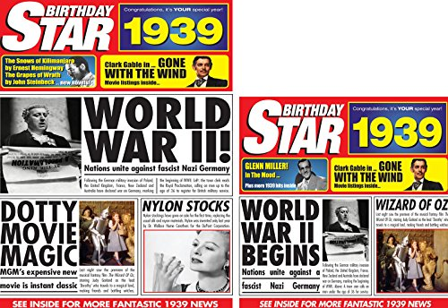 - 1939 BIRTHDAY GIFTS - 1939 Birthday Star DVD, CD and Greetings Cards