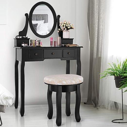 Girls Women Dressing Table Stool Vanity Makeup Set 360° Rotating Mirror 4 Drawer