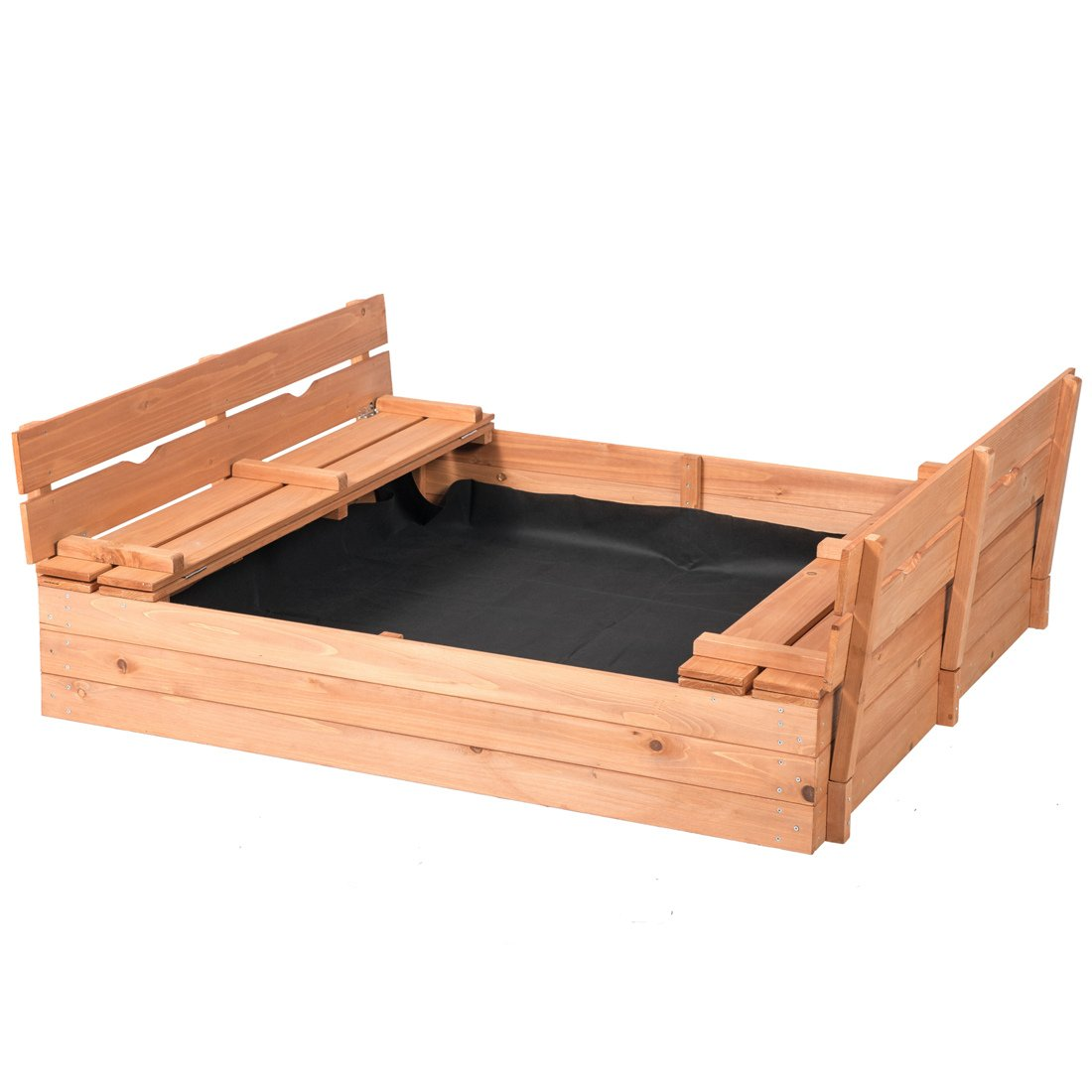 Good Life Outdoor Sandbox with Covered and Bench Seats Kids Play Sand for Sand Box Toys Wood Natural Color 47'' x 47'' Size by Good Life USA (Image #1)
