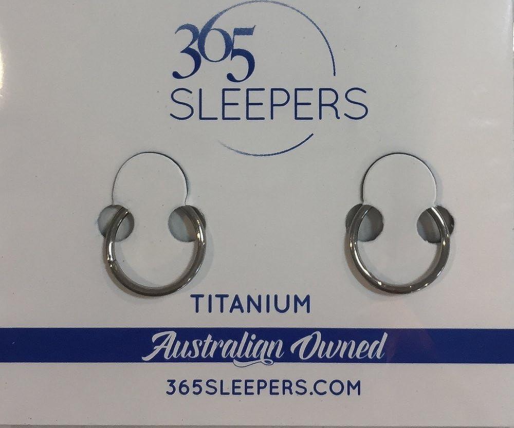 365 Sleepers 1 Pair Titanium 23//64 18G thin Hinged Continuous Segment Ring Hoop Sleeper Earrings Body Piercing 9mm
