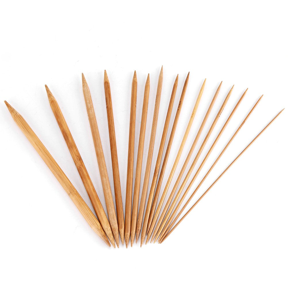 75 Pcs Natural Bamboo Knitting Needles Set Double Pointed Carbonized Knitting Needles 15 Sizes from 2.0mm-10.0mm for Handmade Creative DIY Tool