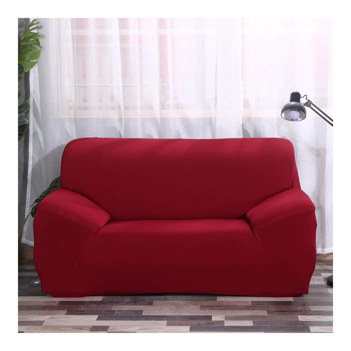 4seat VGUYFUYH Wine Red Seasons Universal Sofa Cover Full Package Elasticity Home Universal Sofa Cover Simple Fashion One Set Durable Dust-Proof Pet Dog Predective Cover,4Seat