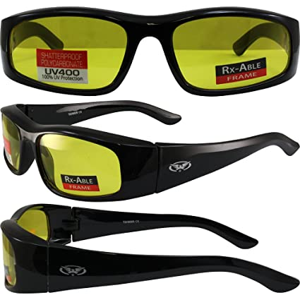 e7bc4cb2bb Image Unavailable. Image not available for. Color  Global Vision Happening  Motorcycle Sunglasses Black Frames RX-Able Yellow Lens