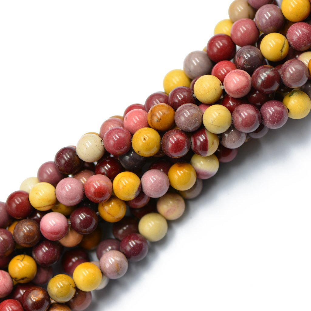 8mm Natural Round Multicolor Mookaite Jasper Gemstone Loose Beads Strand 15