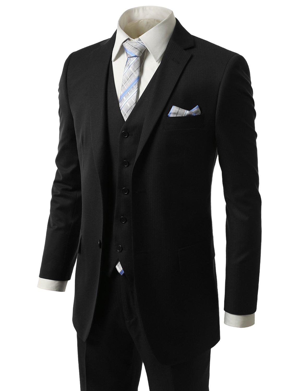 MONDAYSUIT Men RegularFit Striped 3Piece Suit Blazer Tuxedo Vest Trouser-54L 49W