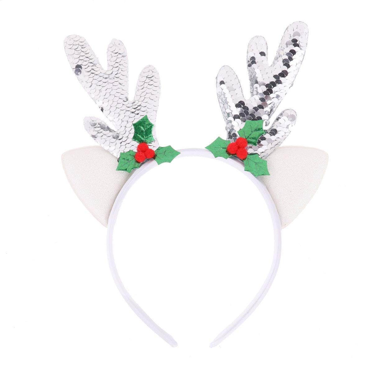 FEESHOW Christmas Headband, Reindeer Antlers Hair Hoop Headwear for Children Christmas Costume Party Type A Silver One Size