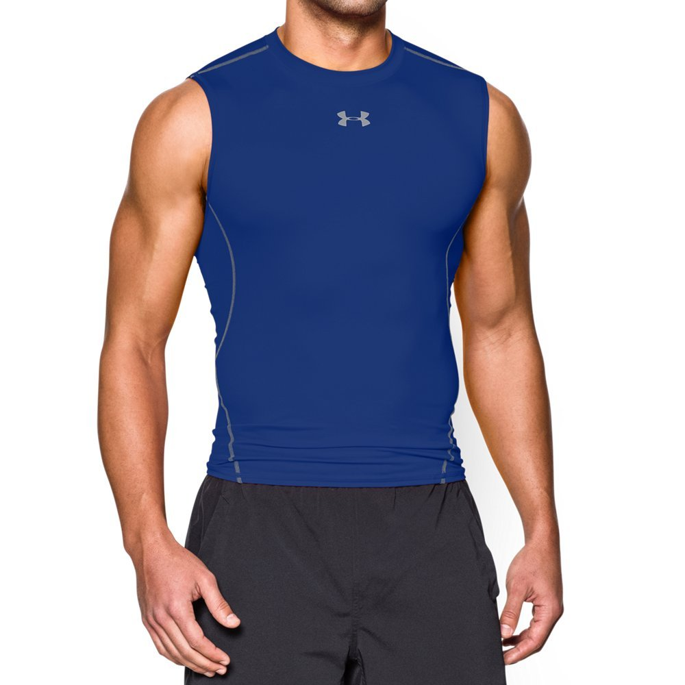 Under Armour Men's HeatGear Armour Sleeveless Compression Shirt, Royal /Steel, XXX-Large