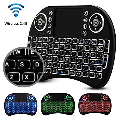 Mini 2.4GHz Wireless Keyboard With Touchpad for Raspberry Pi & Android TV Box – Portable QWERTY Keypad Features Enhanced Function Keys & LED Backlight – Ergonomic Design & Elegant Shape