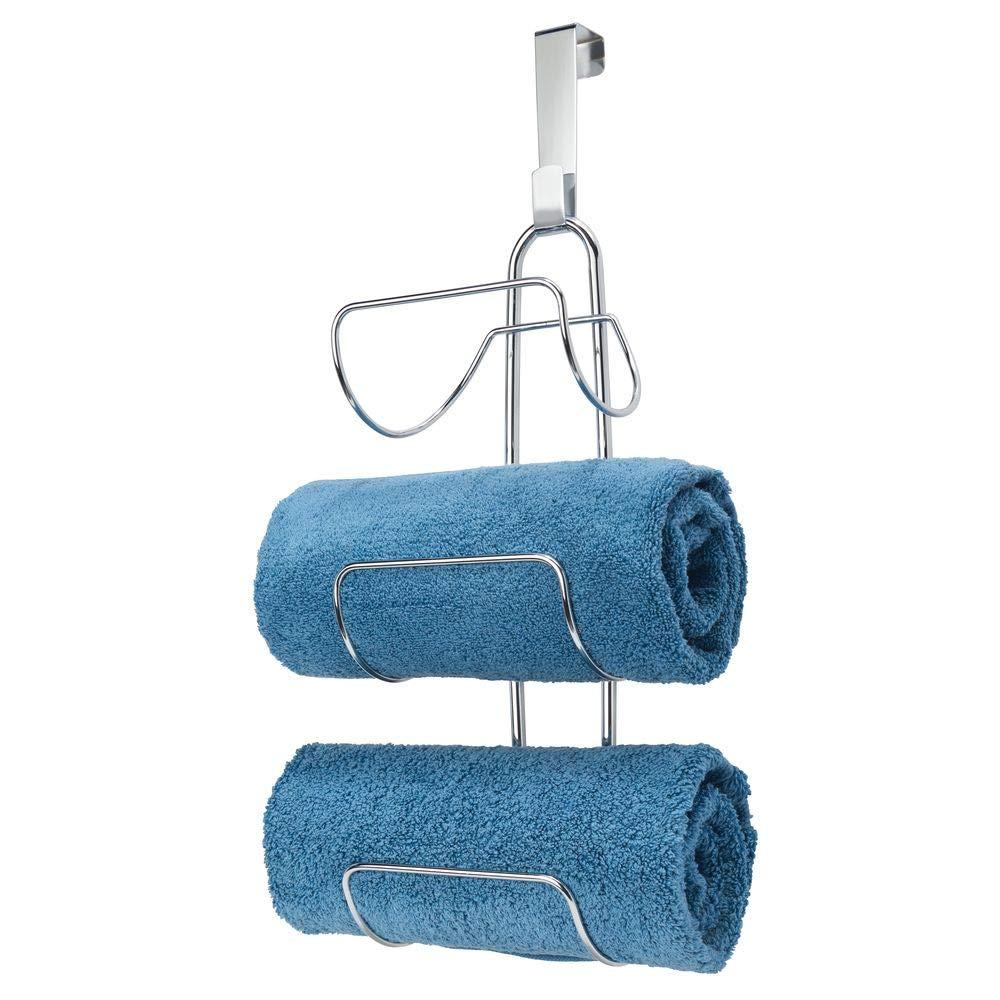 mDesign Wall Mounted Towel Storage Rack Silver Metal Towel Hanging Rail Towel Hanger for the Bathroom