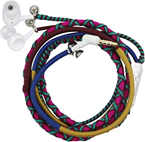 Earphones, Kids Earbuds, URIZONS in Ear Headphones with Microphone Remote for iPhone, iPad, Mac, Laptop Android Devices Fabric Braided Wristband Bracelet
